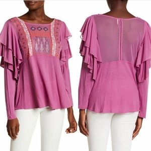 Free People NWOT Embroidered Top